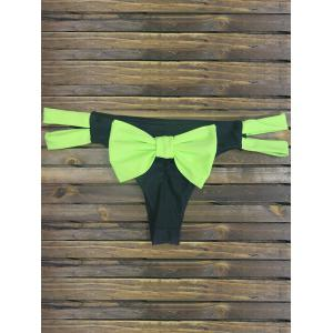 Back Bowknot Cut Out Strappy Skimpy Bikini Bottom - Cyan And Black - L