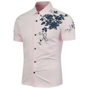 Rose Printed Short Sleeves Casual Shirt