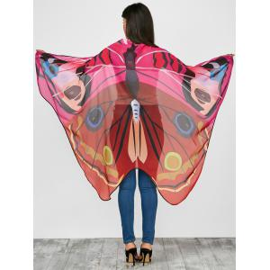 Vivid Chiffon Butterfly Wing Cape Pashmina with Straps - Red - 130*200cm