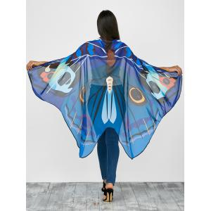 Vivid Chiffon Butterfly Wing Cape Pashmina with Straps - Deep Blue - 130*200cm