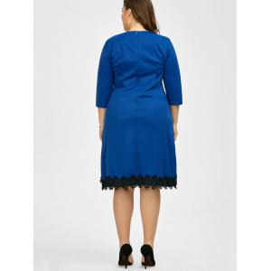 Plus Size Lace Trim Knee Length Work Dress -