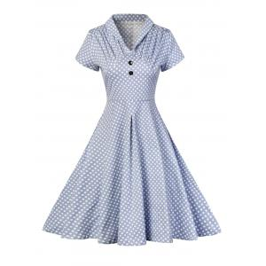 Buttoned Polka Dot V Neck Skater Dress - Blue - L