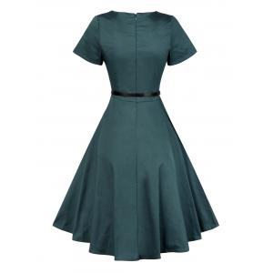 Vintage Short Sleeve Skater Dress - GREEN M