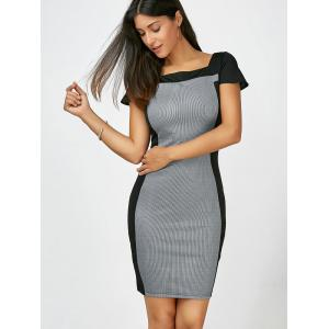Square Collar Striped Bodycon Dress - BLACK M