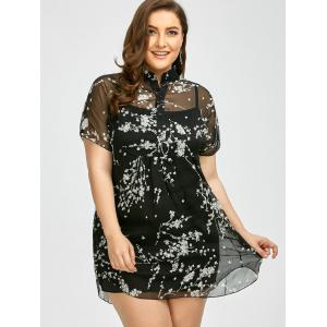 Plus Size Floral See Through Blouse with Camisole - BLACK 3XL