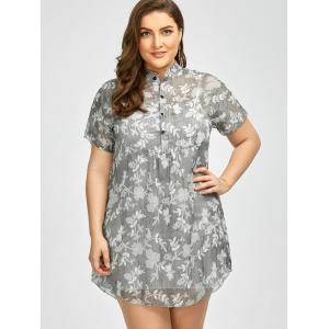 Plus Size Floral See Through Blouse with Camisole - GRAY 3XL