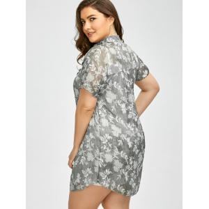 Plus Size Floral See Through Blouse with Camisole -