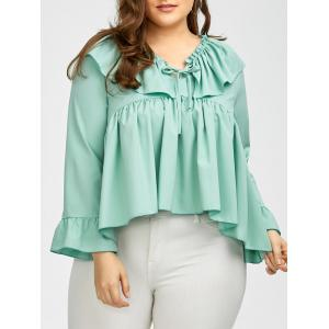 Plus Size Long Sleeve Ruffle Smock Blouse - Mint Green - 5xl