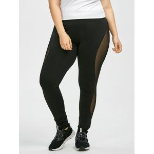 Plus Size High Waist Sheer Mesh Panel Leggings - BLACK 2XL