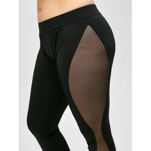 Plus Size High Waist Sheer Mesh Panel Leggings - BLACK XL