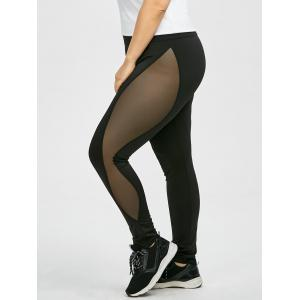 Plus Size High Waist Sheer Mesh Panel Leggings - Black - Xl