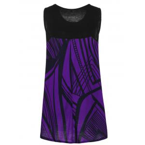 Plus Size Graphic Extra Long Tank Top - DEEP PURPLE 5XL