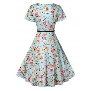 Retro Knee Length Pin Up Dress - AZURE L