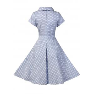 Buttoned Polka Dot V Neck Skater Dress - BLUE S