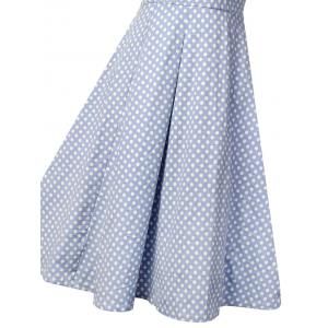 Buttoned Polka Dot V Neck Skater Dress -