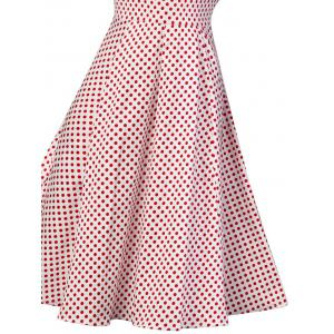 Buttoned Polka Dot V Neck Skater Dress - RED M