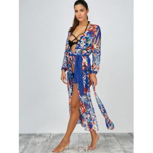 Floral Slit Long Beach Kimono Flowy Cover Up -
