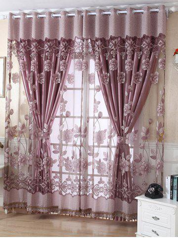 Shops 1Pcs Grommet Roller Floral Window Tulle