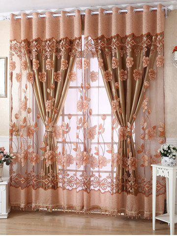 1Pcs Grommet Roller Floral Window Tulle