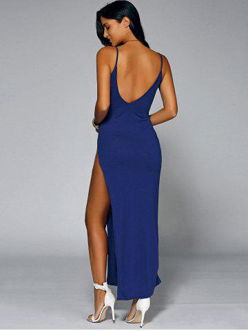 Affordable Low Cut Backless Slit Maxi Club Dress BLUE XL