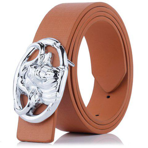 Hollow Out Engraved Buckle Faux Leather Belt - Brown - 38