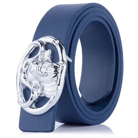 Online Hollow Out Engraved Buckle Faux Leather Belt - CERULEAN  Mobile