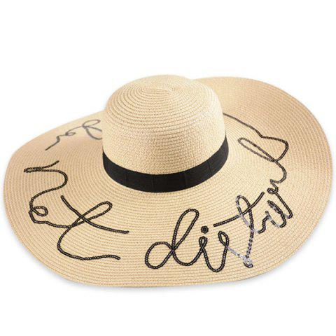Wide Brim Ribbon Sequins Sun Hat with Writing - Palomino - One Size