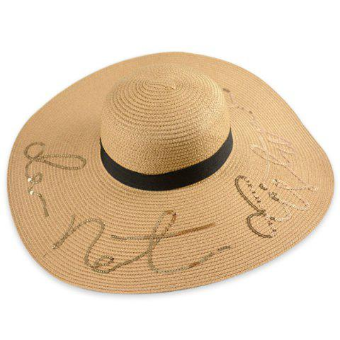 Hot Wide Brim Ribbon Sequins Sun Hat with Writing - ONE SIZE LIGHT COFFEE Mobile