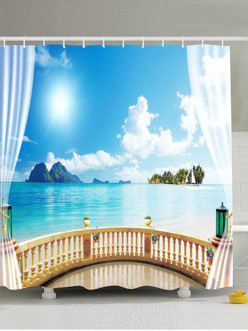 Seascape Printed Waterproof Fabric Shower Curtain - Light Blue - 180*180cm