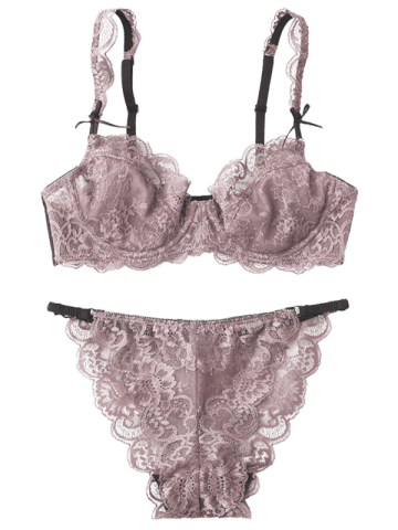 Discount Underwire Scalloped Bowknot Lace Bra Set - 75C LIGHT PURPLE Mobile