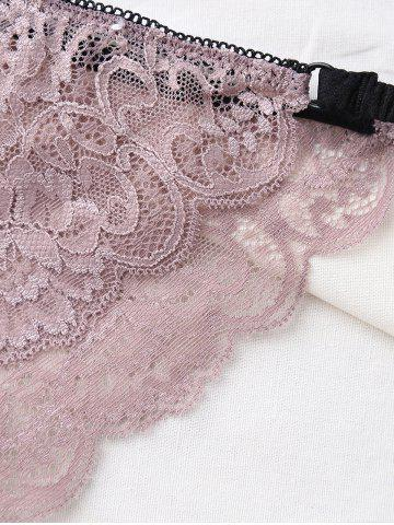 Fancy Underwire Scalloped Bowknot Lace Bra Set - 75C LIGHT PURPLE Mobile