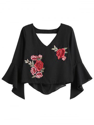 Buy Flare Sleeve Rose Embroidered Chiffon Crop Blouse