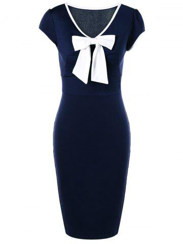 Unique Bow Tie Cap Sleeve Sheath Vintage Pencil Dresses