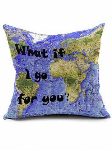 Latest World Map Print Short Plush Square Pillow Case - PURPLE  Mobile