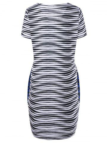 Outfit Plus Size Striped Knee Length Tight Dress - XL BLUE AND WHITE Mobile