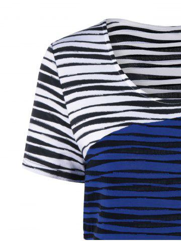 Chic Plus Size Striped Knee Length Tight Dress - XL BLUE AND WHITE Mobile