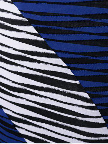 Discount Plus Size Striped Knee Length Tight Dress - XL BLUE AND WHITE Mobile
