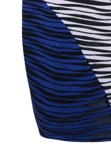 Affordable Plus Size Striped Knee Length Tight Dress - XL BLUE AND WHITE Mobile
