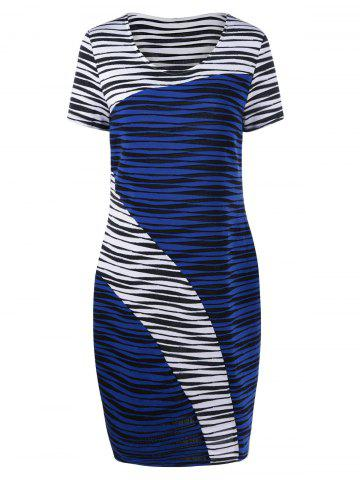 Chic Plus Size Striped Knee Length Tight Dress - 3XL BLUE AND WHITE Mobile