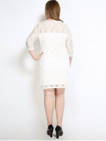 Hot Lace Knee Length Fitted Plus Size Dress - 5XL WHITE Mobile
