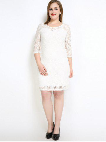 Fancy Lace Knee Length Fitted Plus Size Dress - 5XL WHITE Mobile