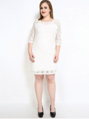 Store Lace Knee Length Fitted Plus Size Dress - 5XL WHITE Mobile