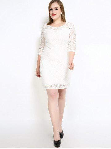 Buy Lace Knee Length Fitted Plus Size Dress - 5XL WHITE Mobile