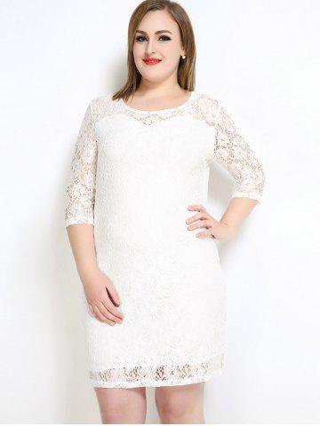 Fancy Lace Knee Length Fitted Plus Size Dress - 6XL WHITE Mobile