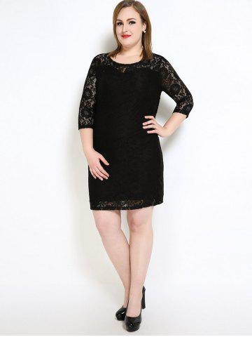 Shops Lace Knee Length Fitted Plus Size Dress - 7XL BLACK Mobile
