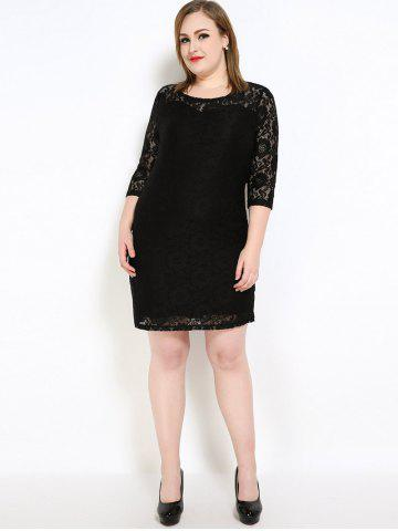 Outfits Lace Knee Length Fitted Plus Size Dress - 7XL BLACK Mobile