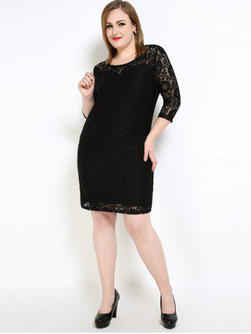 New Lace Knee Length Fitted Plus Size Dress - 7XL BLACK Mobile