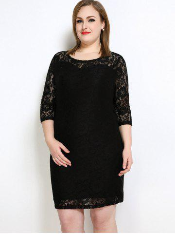 Outfits Lace Knee Length Fitted Plus Size Dress - 3XL BLACK Mobile