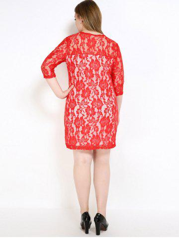 Discount Lace Knee Length Fitted Plus Size Dress - 7XL RED Mobile