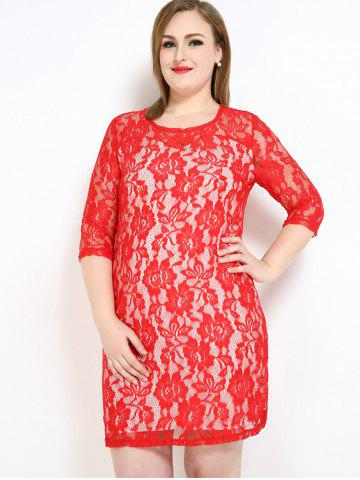 New Lace Knee Length Fitted Plus Size Dress - 7XL RED Mobile